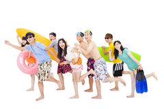 Summer, beach, vacation, happy young group Stock Photography