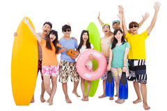 Summer, beach, vacation, happy young group travel Royalty Free Stock Photos