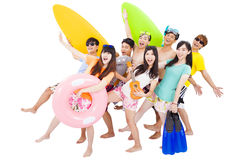 Summer, beach, vacation, happy young group travel Stock Photography