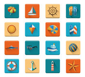 Summer Beach Vacation Icon Creativity Set Concept Royalty Free Stock Photography