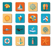 Summer Beach Vacation Icon Set Stock Photo