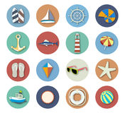 Summer Beach Vacation Icon Set Royalty Free Stock Photos
