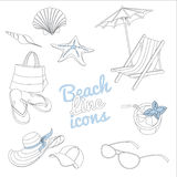 Summer beach vacation icons set. Doodle sketch style. Royalty Free Stock Photos