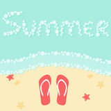 Summer beach vacation poster with sea, sand flip flops, starfish, shells. Stock Photo