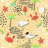 Summer Beach Vacation Seamless Pattern with Seagulls and Palms in Childish Style. Cute Background with Ice Cream. And Abstract Elements for Decoration. Vector Royalty Free Stock Image