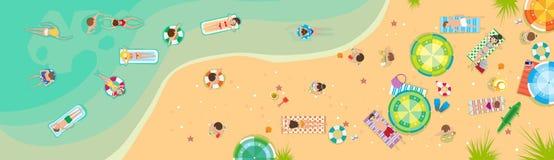 Summer Beach Vacation Seaside Sand Tropical Holiday Banner. Flat Vector Illustration vector illustration