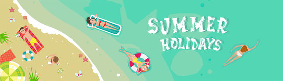 Summer Beach Vacation Seaside Sand Tropical Holiday Banner. Flat Vector Illustration Royalty Free Stock Photo