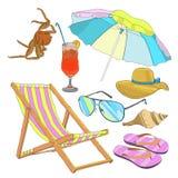 Summer Beach Vacation Set vector illustration