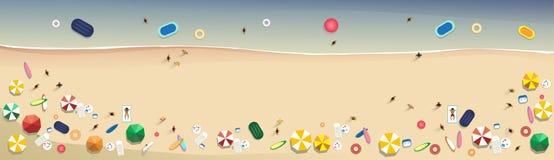 Summer Beach Vacation Set Sand Tropical Holiday Banner. Flat Vector Illustration Stock Photos