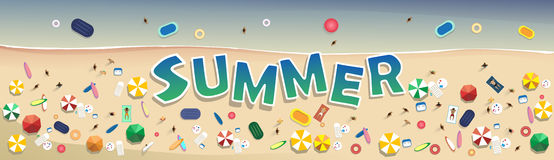Summer Beach Vacation Set Sand Tropical Holiday Banner Royalty Free Stock Photography