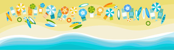 Summer Beach Vacation Set Sand Tropical Holiday Banner. Flat Vector Illustration Royalty Free Stock Photos