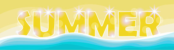 Summer Beach Vacation Set Sand Tropical Holiday Banner. Flat Vector Illustration Stock Photography