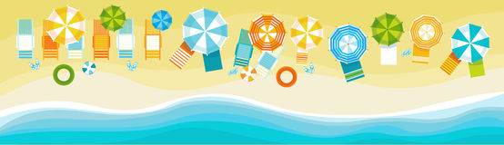 Summer Beach Vacation Set Sand Tropical Holiday Banner. Flat Vector Illustration Royalty Free Stock Photo