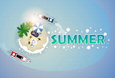 Summer Beach Vacation Set Sand Tropical Island Holiday Banner Stock Images