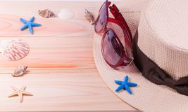 Summer beach vacation,straw hat,sunglasses ,Sea objects Stock Image