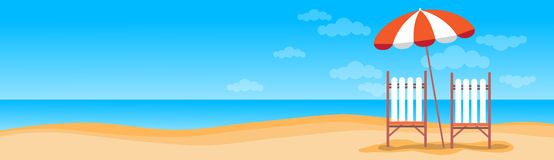Summer Beach Vacation Sunbed With Umbrella Sand Tropical Banner Copy Space Royalty Free Stock Photos