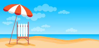 Summer Beach Vacation Sunbed With Umbrella Sand Tropical Banner Copy Space Stock Photography