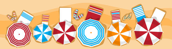 Summer Beach Vacation Sunbed With Umbrella Sand Tropical Banner Top Angle View Stock Image