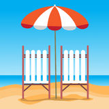 Summer Beach Vacation Sunbed With Umbrella Sand Stock Photos