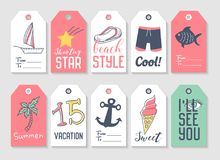 Summer Beach Vacation Tags Collection with Hand Drawn Elements Palm, Ice Cream and Fish. Vector illustration Stock Photography