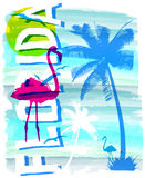 Summer beach vector background in retro style Royalty Free Stock Photos