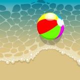 Summer Beach. Vector Summer Beach With a Beach Ball Stock Photos