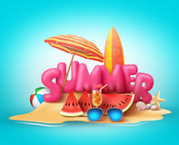 Summer beach vector banner design. Summer 3d text in the sand Royalty Free Stock Photography