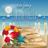 Summer beach vector concept,Wood bridge on the beach with shells. Background Stock Photography