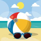 Summer Beach Vector Design in the Seashore with Beach Umbrella and Chair. Summer Background Vector Illustration for vector illustration