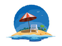Summer beach. Vector illustration of beach chairs on the summer beach Stock Photo