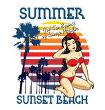 Summer beach. Beach vector with palm tree and girl royalty free illustration