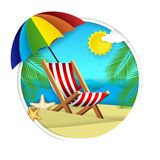 Summer beach vector paper cut illustration. Ocean beach with chaise lounge, tropical palm leaves and starfish in circle. Beach holidays concept for poster vector illustration