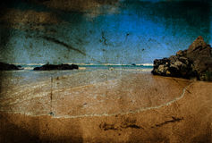 Summer beach vintage. Summer beach over vintage texture stock photography
