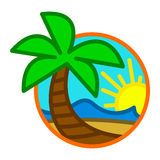 Summer Beach Waves Ocean Palm Tree Tropical Holiday Vacation Stock Photo