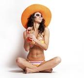 Summer beach woman Stock Images