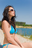 Summer beach woman in blue bikini Royalty Free Stock Photo