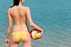 Summer beach woman enjoy sun hold ball Royalty Free Stock Photos