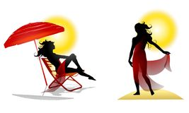 Summer Beach Woman Sun. An illustration featuring 2 female images with a summer theme. The first is sitting in a beach chair with umbrella and the other is Stock Photo