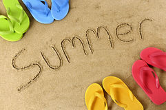 Summer beach vacation sand border word writing Stock Image