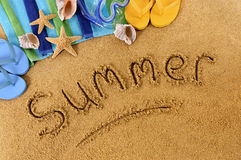 Summer beach writing Royalty Free Stock Images