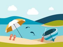Summer beach with yellow umbrella. Royalty Free Stock Photography