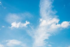 Beautiful blue sky with cloud and copy space. Summer and beautiful in the blue sky with clouds stock photography