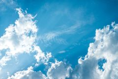 Beautiful blue sky with cloud and copy space. Summer and beautiful in the blue sky with clouds royalty free stock photo
