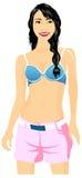 Summer Beautiful Girl. Vector illustration of Beautiful Girl Royalty Free Stock Photo