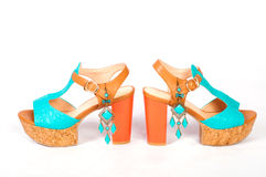 Summer beautiful high heels and beautiful earrings Royalty Free Stock Photos