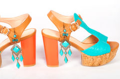 Summer beautiful high heels and beautiful earrings Stock Images