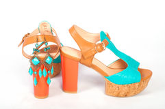 Summer beautiful high heels and beautiful earrings Royalty Free Stock Photo