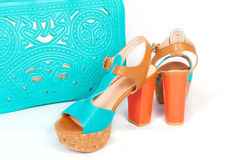 Summer beautiful high heels and handbag Royalty Free Stock Photo