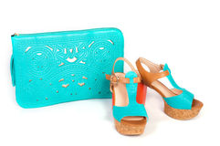 Summer beautiful high heels and handbag Stock Image