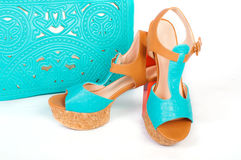 Summer beautiful high heels and handbag Stock Photos
